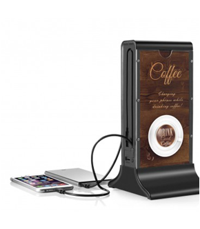 Power Bank Station with Restaurant Advertisement